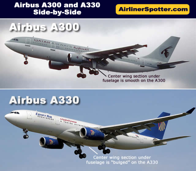 The chart below shows how similar the Airbus A300 and the A330 are in overall appearance. One significant difference is between the wings and under the fuselage. The A300 is smooth under the fuselage, whereas the A330 features a bulge in that area.