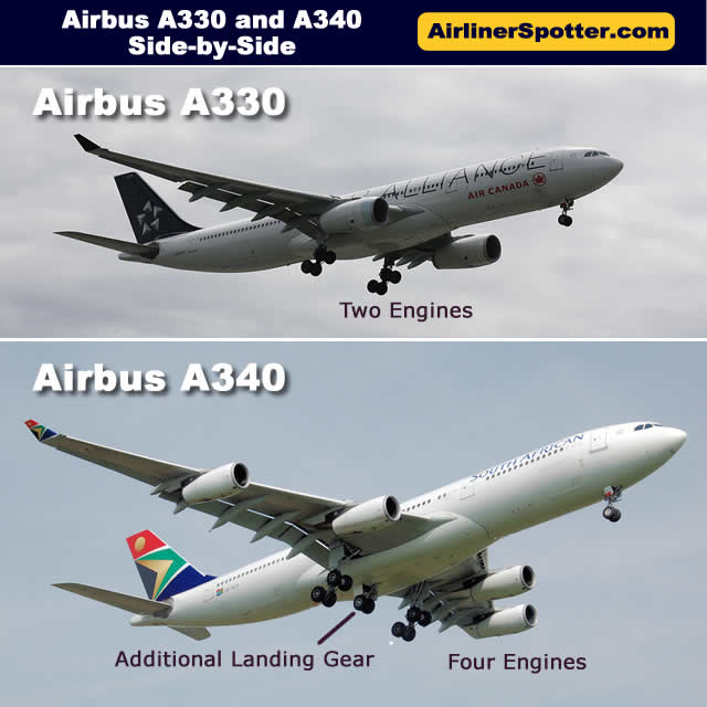 Side-by-side comparison of the 4-engine Airbus A340 (bottom) and the 2-engine A330 (top)