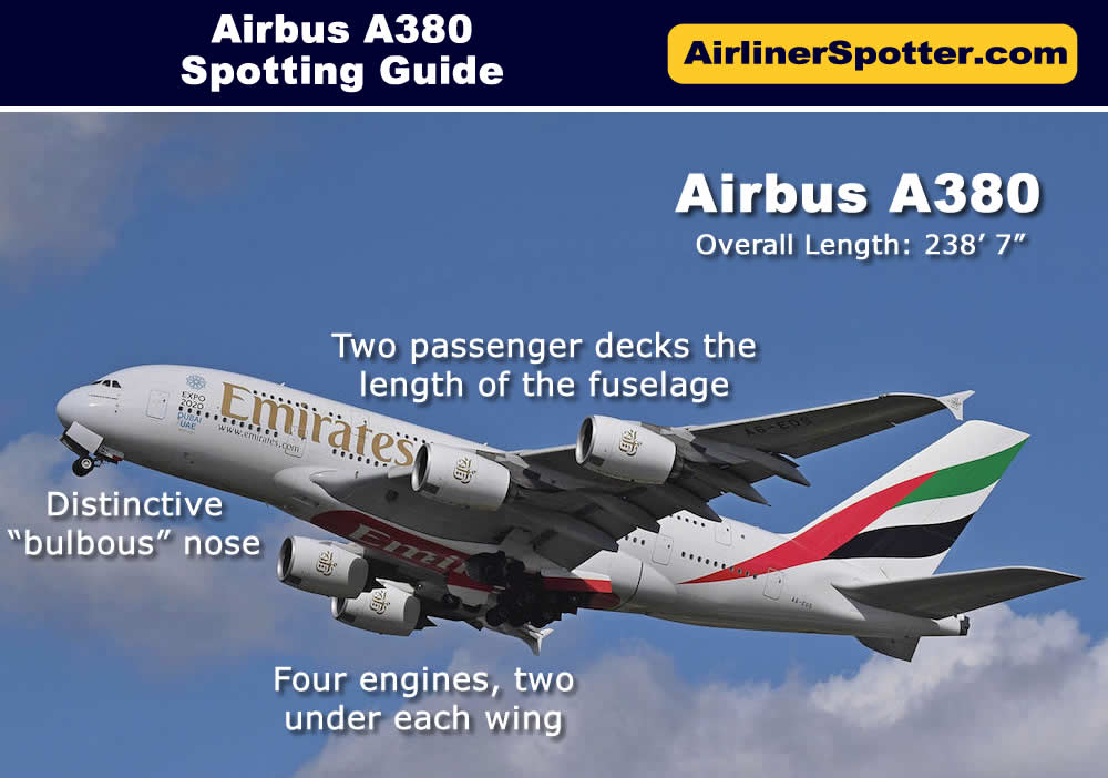 The A380 is easy to spot, with its two full-fuselage passenger decks, a bulbous nose, and four engines under the wings. Shown here is an Emirates Airbus A380.