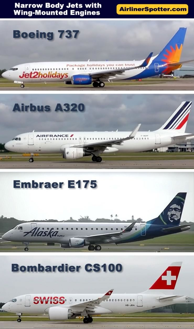 Chart showing a side-by-side comparison of popular twin-engine narrow-body jetliners in service today, including the Boeing 737, Airbus 320 and the Embraer E175.