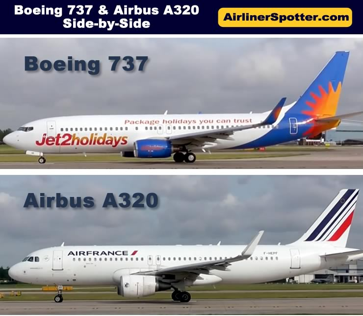 Side-by-side comparison of the Airbus A320 and the Boeing 737