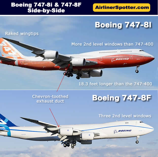 Sspotting guide comparing the Boeing 747-8I with the 747-8F