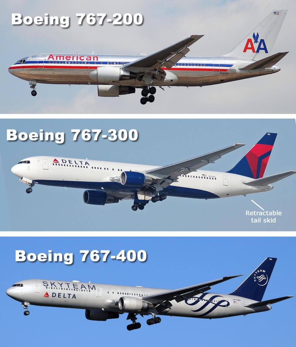 Spotting tips for the Boeing 767-200 (top) and 767-300 (bottom)