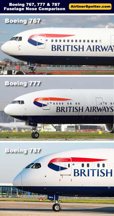 Comparison of the fuselage nose of the Boeing 767, 777 and 787