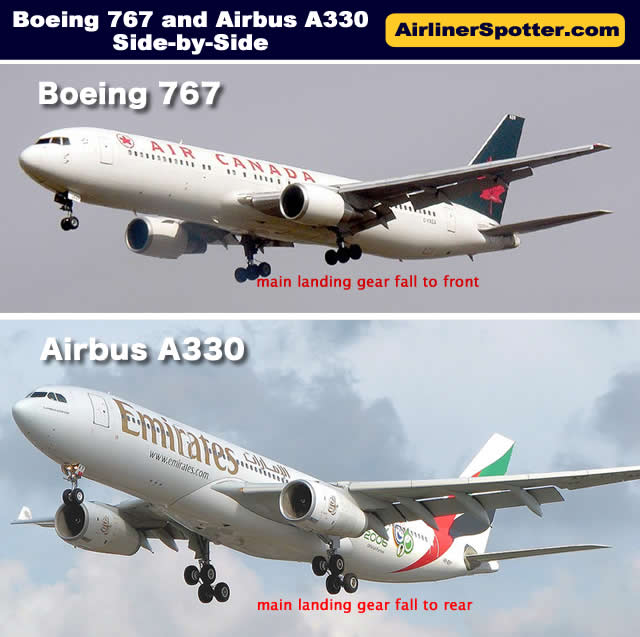 Boeing 767 and Airbus A330 side-by-side comparison