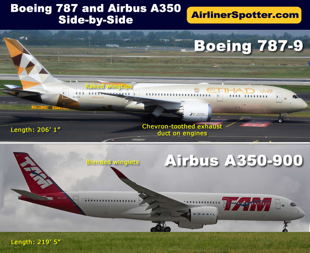 Side-by-side comparison of the Boeing 787 (top) and Airbus A350 (below)