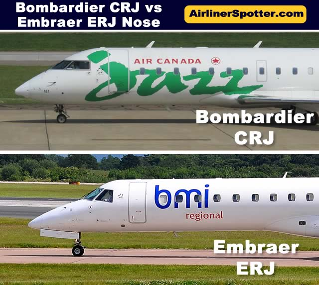 Comparison of the nose sections of the Bombardier CRJ (top) and Embraer ERJ (bottom) regional jets