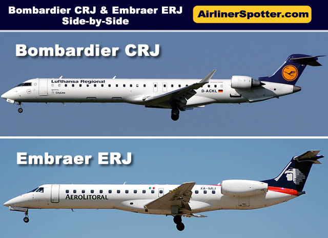 Side-by-side comparison of an Bombardier CRJ jet  (top) and an Embraer ERJ jet (bottom)