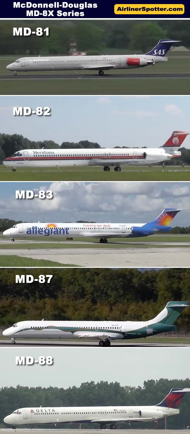 Photo comparison of the McDonnell-Douglas MD-81, MD-82, MD-83, MD-87 and MD-88 airliners