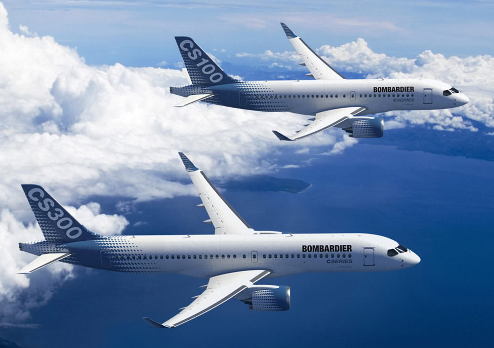 Bombardier CS100 (top) and CS300 (bottom) prototypes