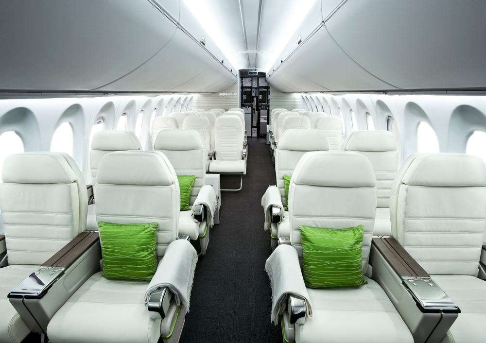 Interior view of the spacious Bombardier C Series jetliner