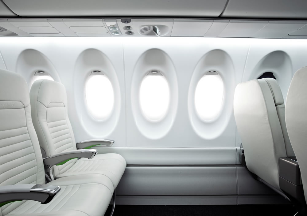 Large windows and seating arrangement in the Bombardier C Series jetliner