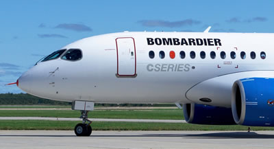 Nose view of the Bombardier C Series