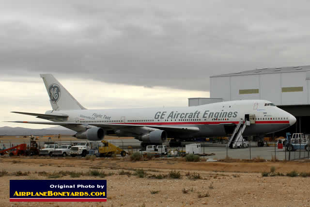 Boeing 747 (F-GSKY) parked at the Phoenix Goodyear Airport in Arizona