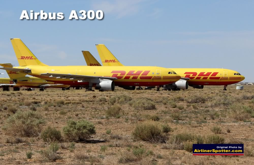 Airbus A300-B4-203 of DHL, registration N365DH (foreground), in desert storage at the Kingman Airport in Kingman, Arizona