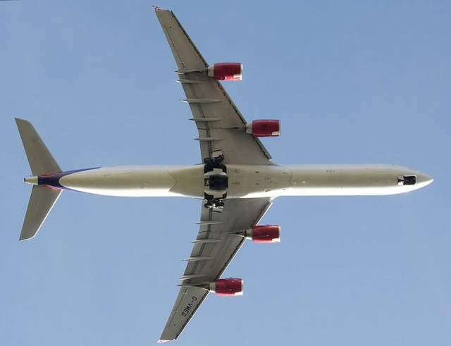 View of the undercarriage of an Airbus A340-600 of Virgin Atlantic