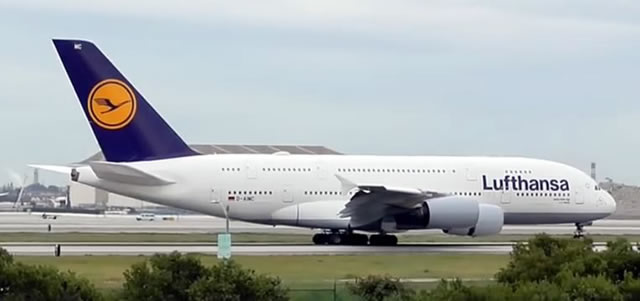 Lufthansa Airbus A380 at Los Angeles International Airport (LAX)
