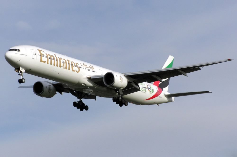 EEmirates Boeing 777-31H, Registration Number A6-EMV. This is a 777-300 series aircraft originally purchased by Emirates, Boeing Airline Customer Code 1H
