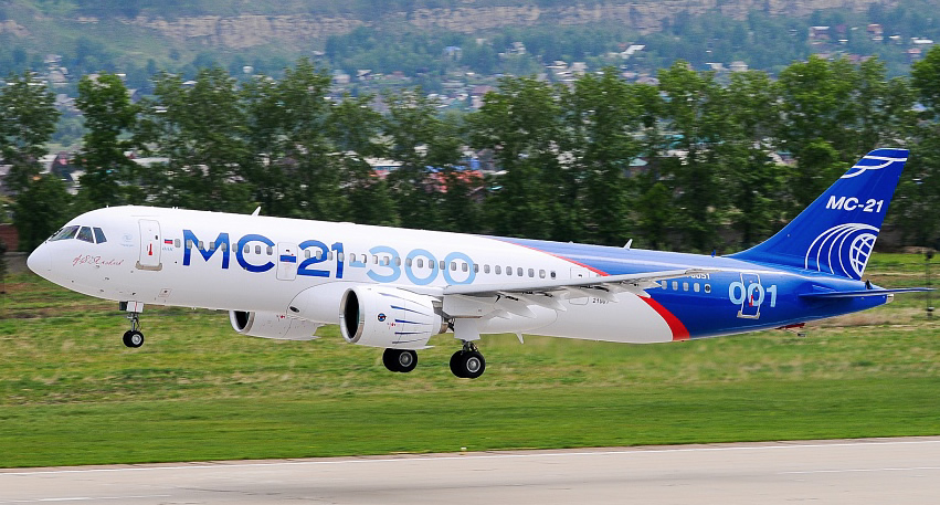 Russian built MC-21-300 Narrow-Body Airliner